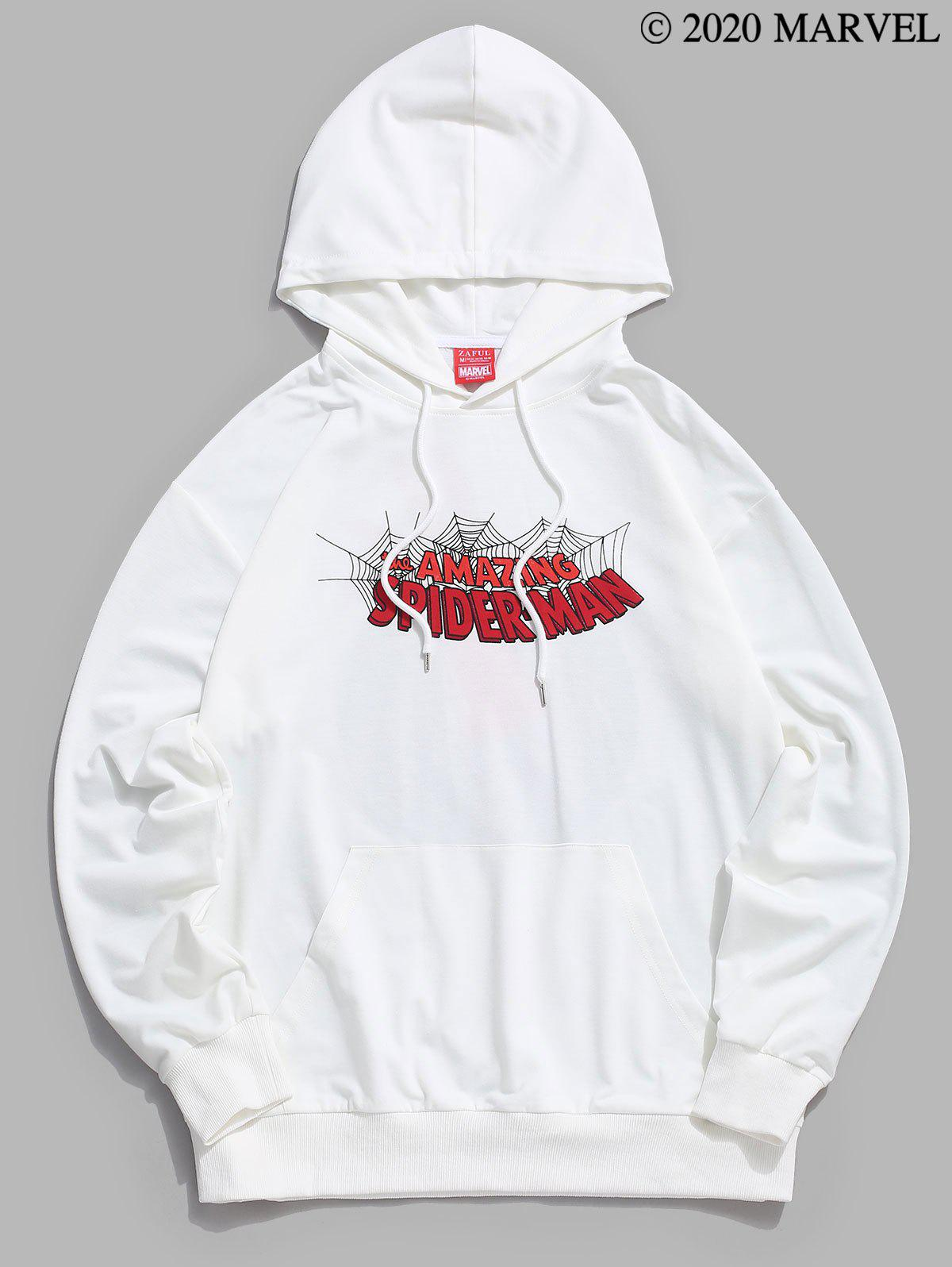 Marvel Spider-Man Spiderweb Graphic Kangaroo Pocket Hoodie - WHITE 2XL