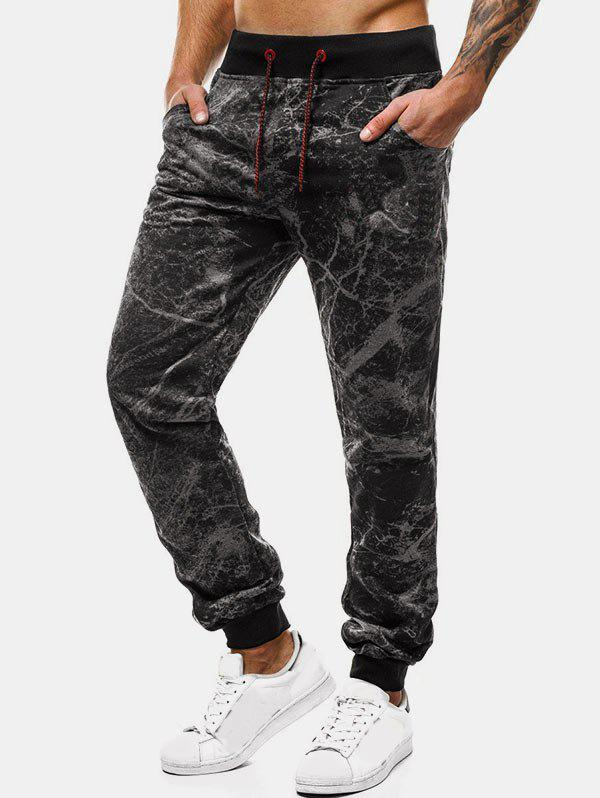Marble Cracked Print Drawstring Jogger Pants - GRAY 3XL