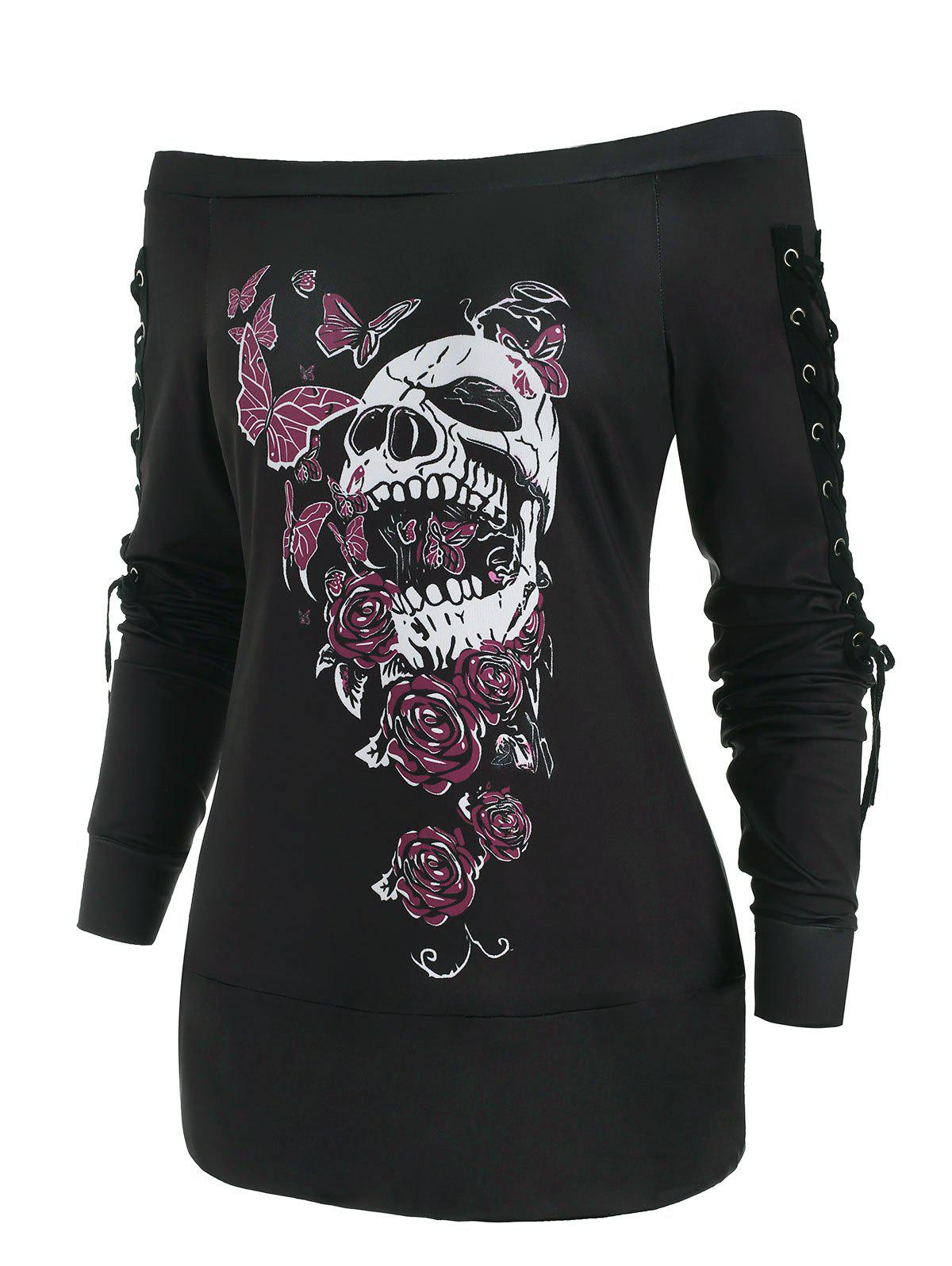 Lace Up Butterfly Skull Holloween Top - BLACK 2XL
