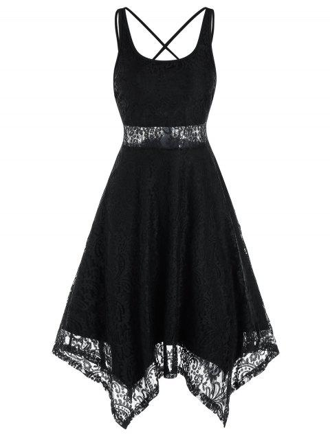 Sleeveless Strappy Handkerchief Lace Dress