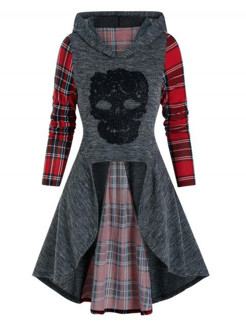 Checked Insert Back Lace Up Hooded High Low Knitwear