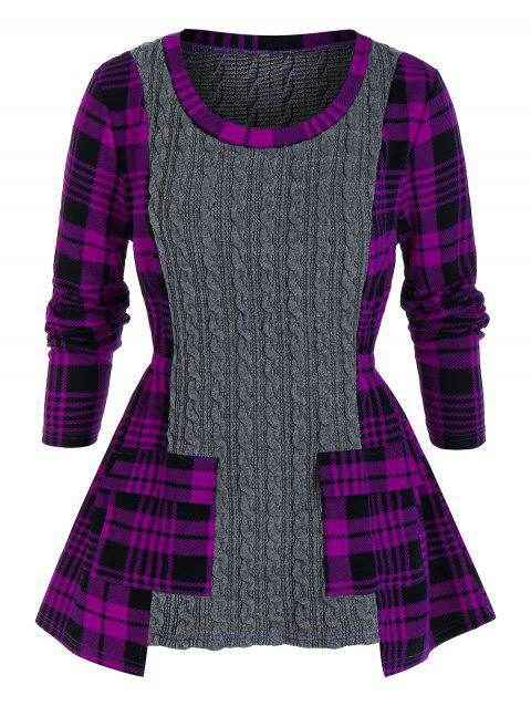 Plus Size Plaid Cable Knit Mixed-media Sweater