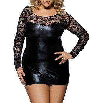 Plus Size Lace Insert Faux Leather Lingerie Dress