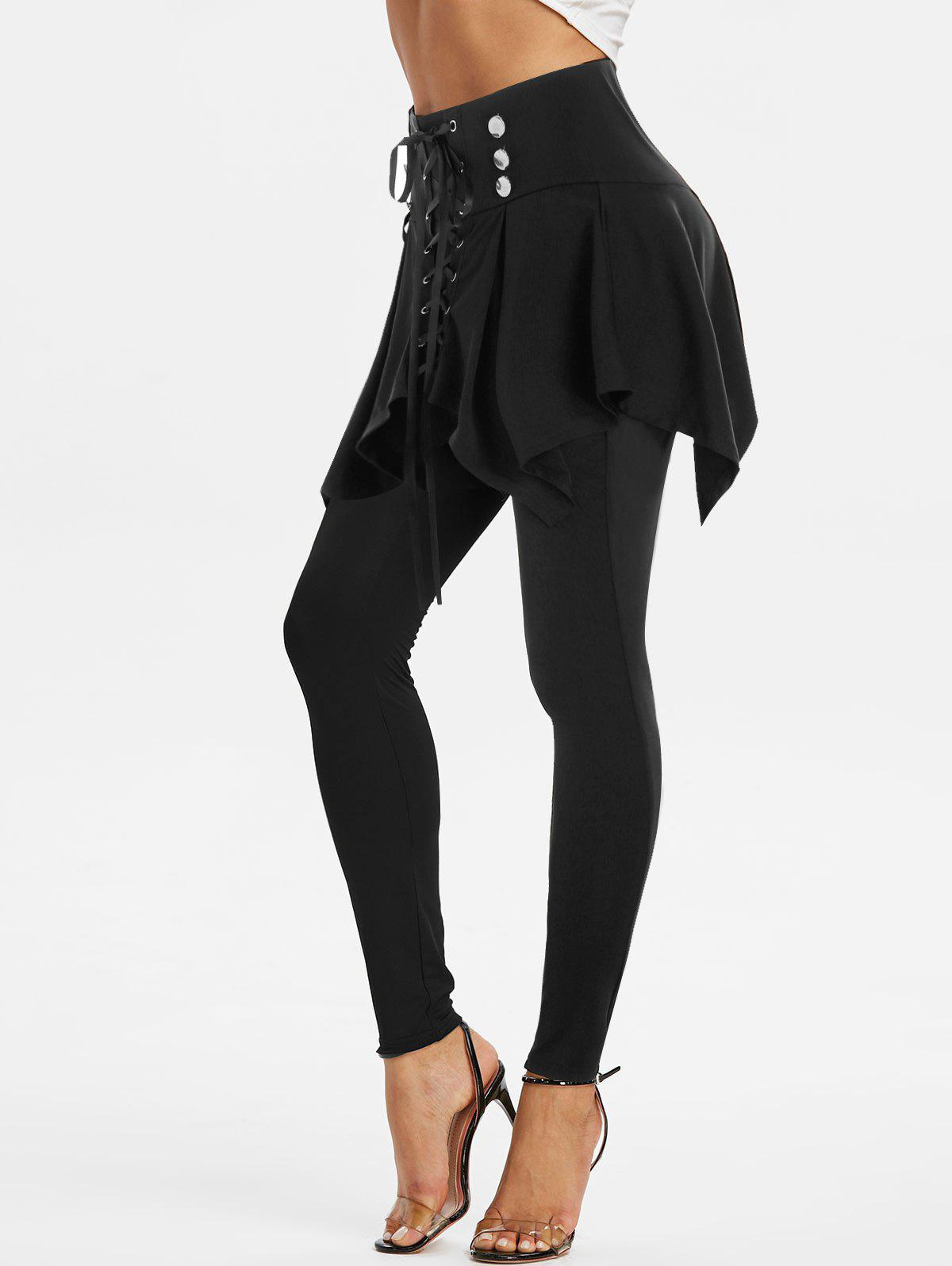 High Waisted Lace-up Front Skirted Pants - BLACK 3XL