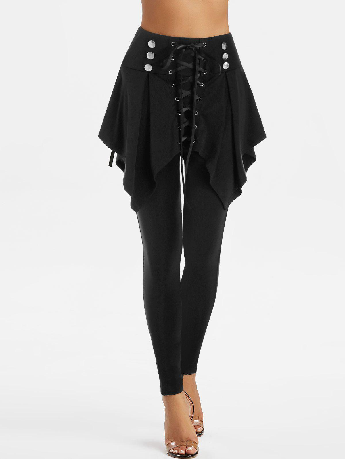 High Waisted Lace-up Front Skirted Pants - BLACK M