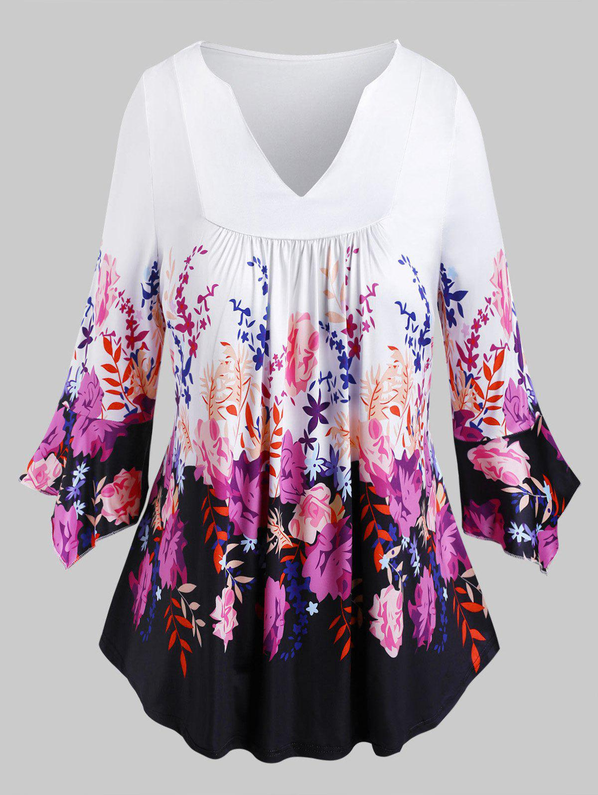 Plus Size Floral Print Bell Sleeve Tee - WHITE 4XL