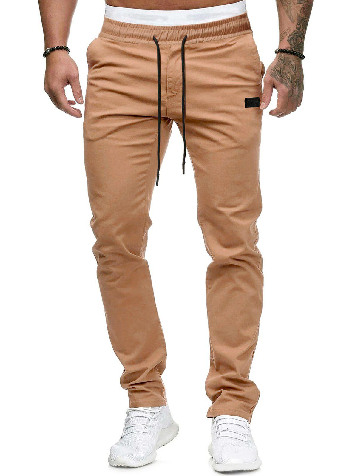 Plain Leather Detail Casual Straight Pants - KHAKI L