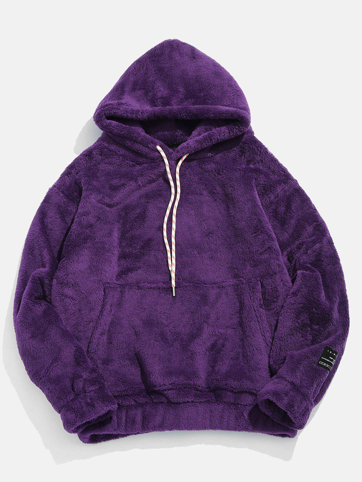 Pouch Pocket Patch Detail Fluffy Hoodie - PURPLE 2XL