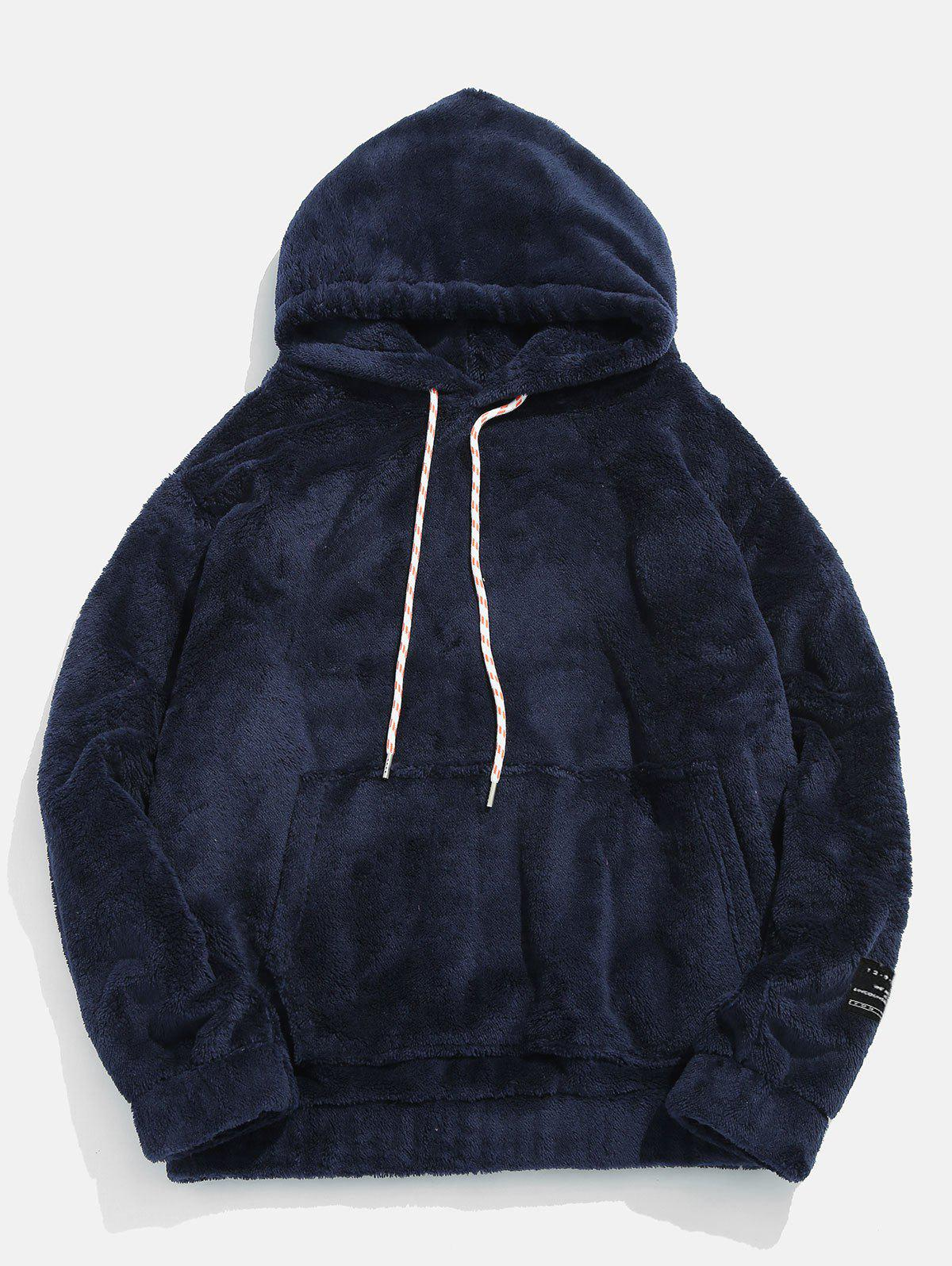 Pouch Pocket Patch Detail Fluffy Hoodie - MARBLE BLUE XS