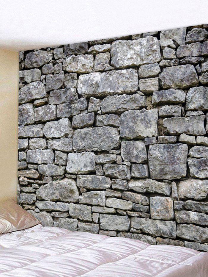 Stone Rock Wall Pattern Home Background Tapestry - multicolor W91 X L71 INCH