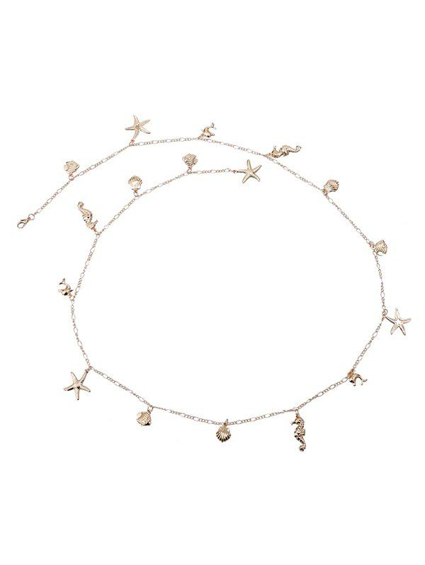 Shells Starfish Shape Sexy Charm Waist Chain - GOLDEN