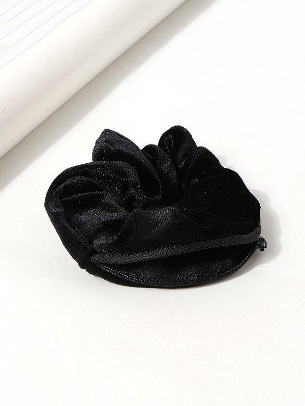 Solid Velour Fabric Zipper Opening Scrunchie - BLACK