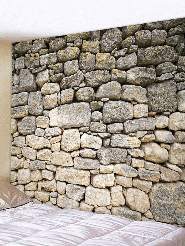Stone Wall Printed Home Background Tapestry - multicolor W91 X L71 INCH