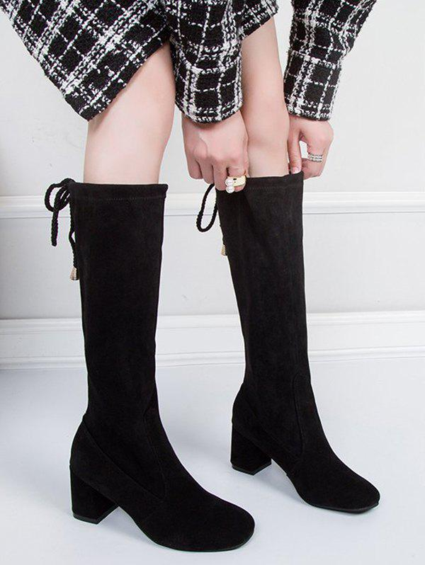 Plain Chunky Heel Tie Back Knee High Boots - BLACK EU 38