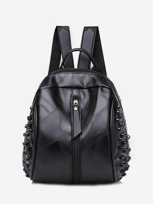 Casual Rivet Quilted Solid PU Backpack - BLACK
