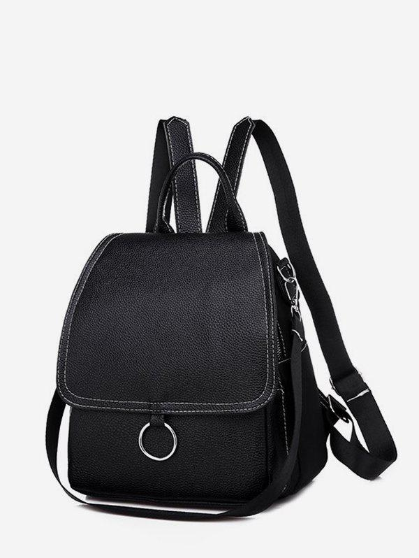 Casual Cover O Ring Small Backpack - BLACK
