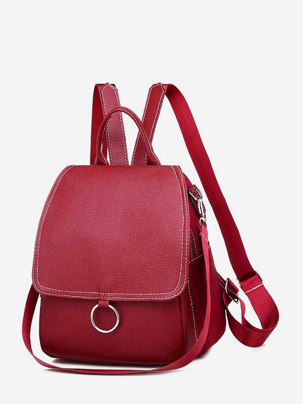 Casual Cover O Ring Small Backpack - DEEP RED