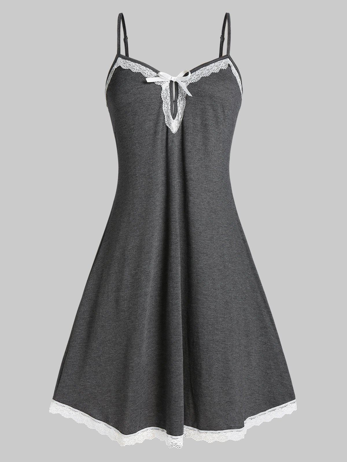 Plus Size Lace Insert Sleepwear Dress - CARBON GRAY 3X
