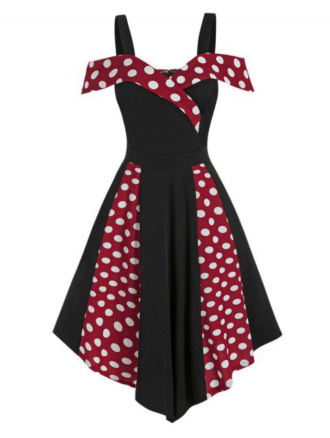 Open Shoulder Contrast Polka Dot Print High Waist Vintage Dress