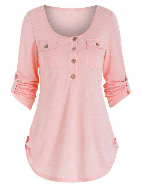 Round Collar Buttons Roll Up Sleeve T-shirt