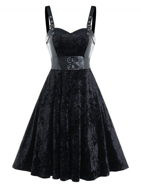 Buckle Strap Velvet Fabric Lace-up Sleeveless Dress