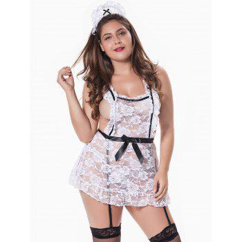 Plus Size Sheer Lace Nurse Cosplay Costume