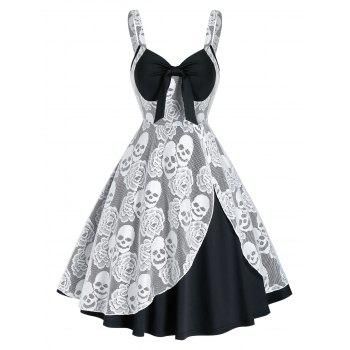 Halloween Skull Lace Insert Sleeveless Twofer Dress