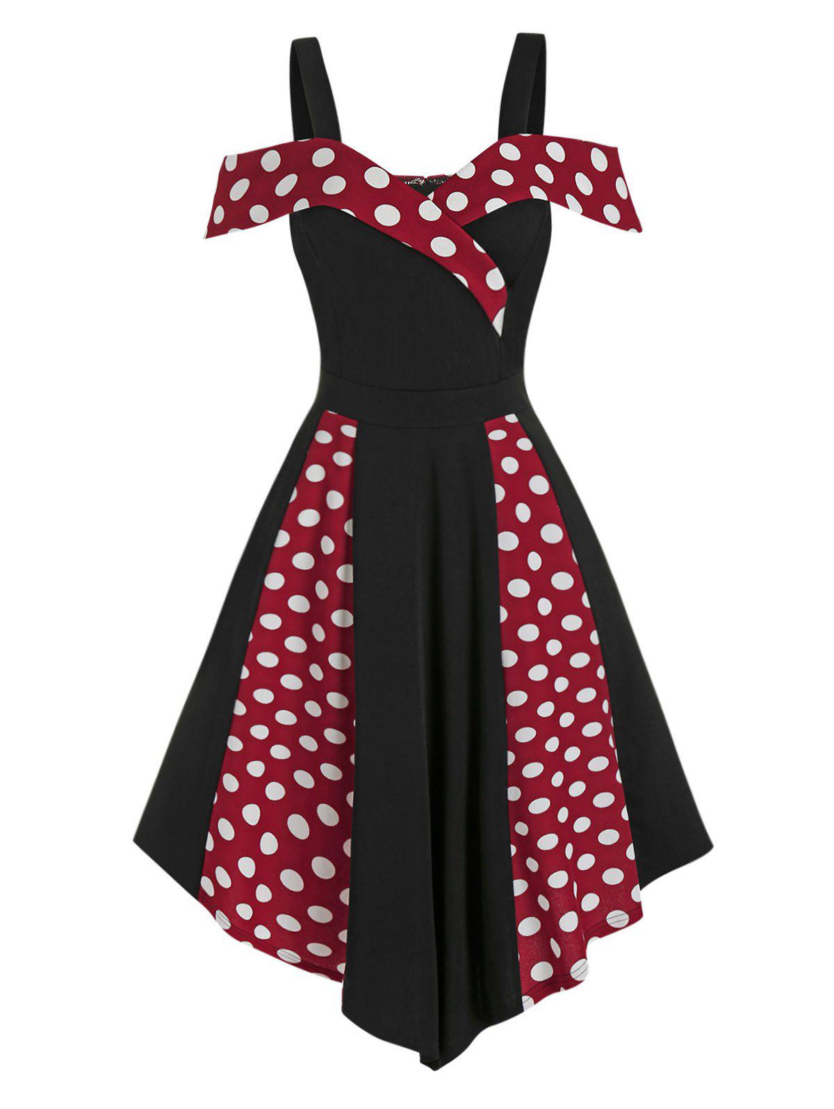 Open Shoulder Contrast Polka Dot Print High Waist Vintage Dress - RED WINE L