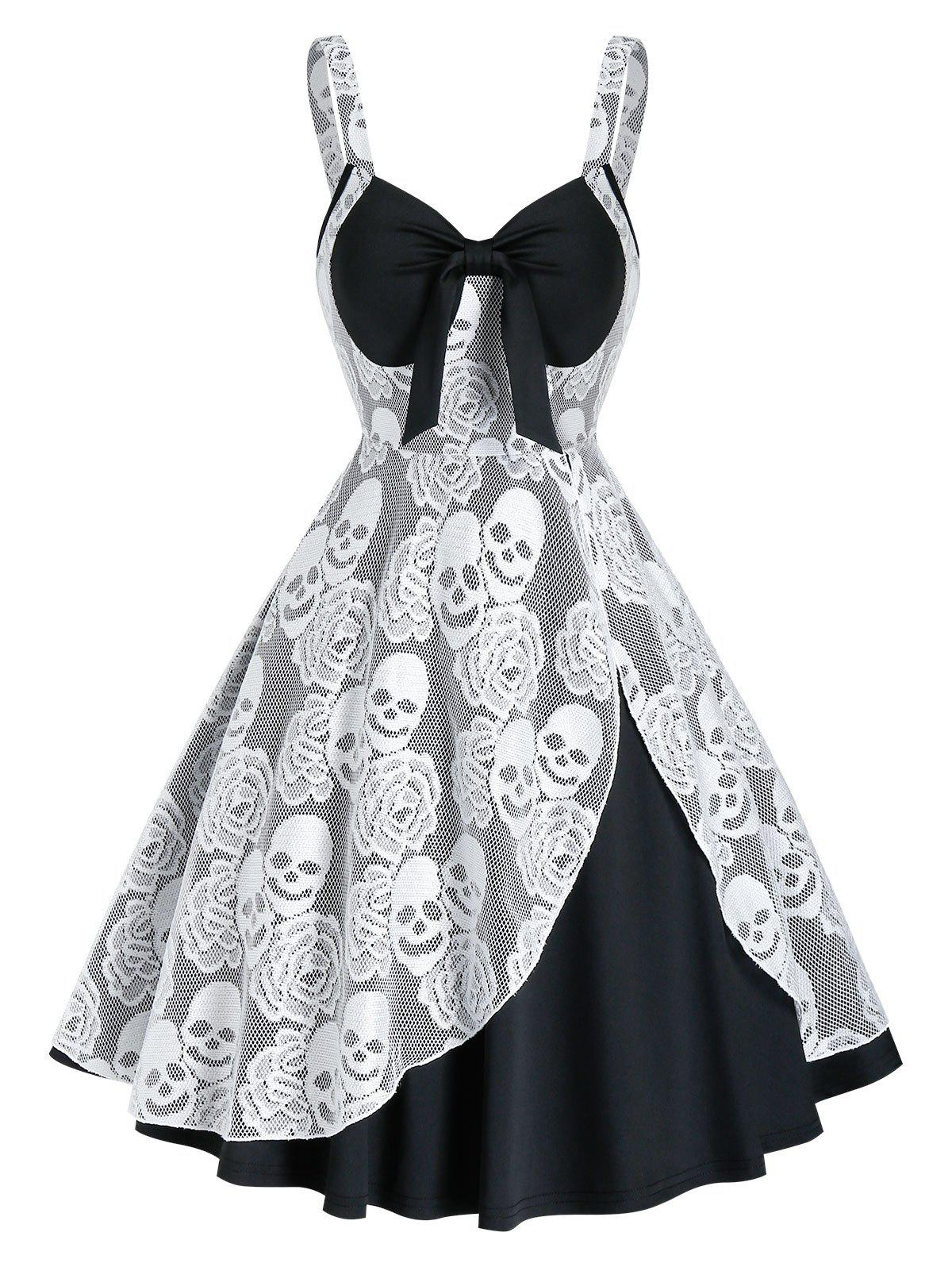 Gothic Skull Lace Insert Sleeveless Twofer Dress - BLACK L