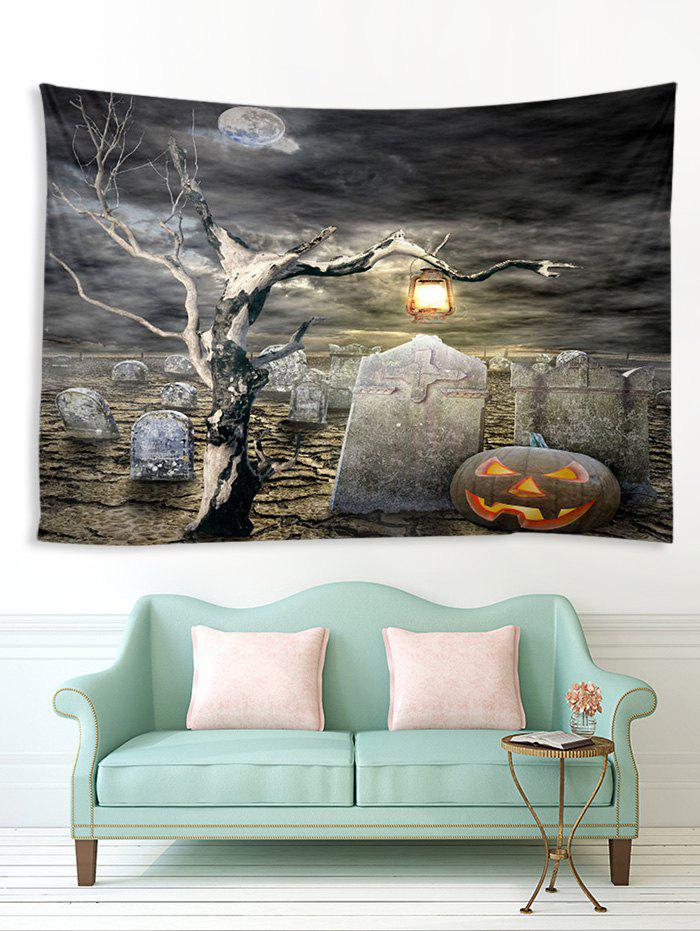 Halloween Grave Tree Printed Multifunction Tapestry - multicolor W91 X L71 INCH