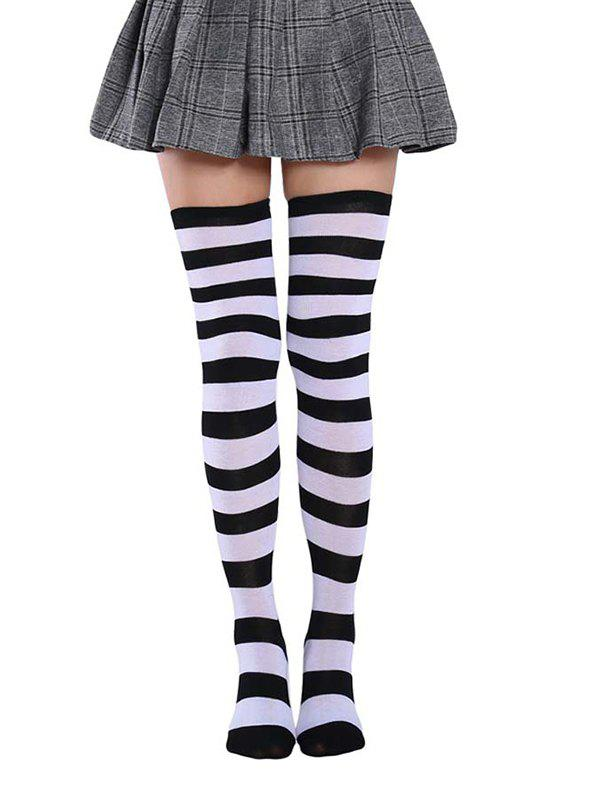 Bicolor Striped Thigh High Long Socks - multicolor A