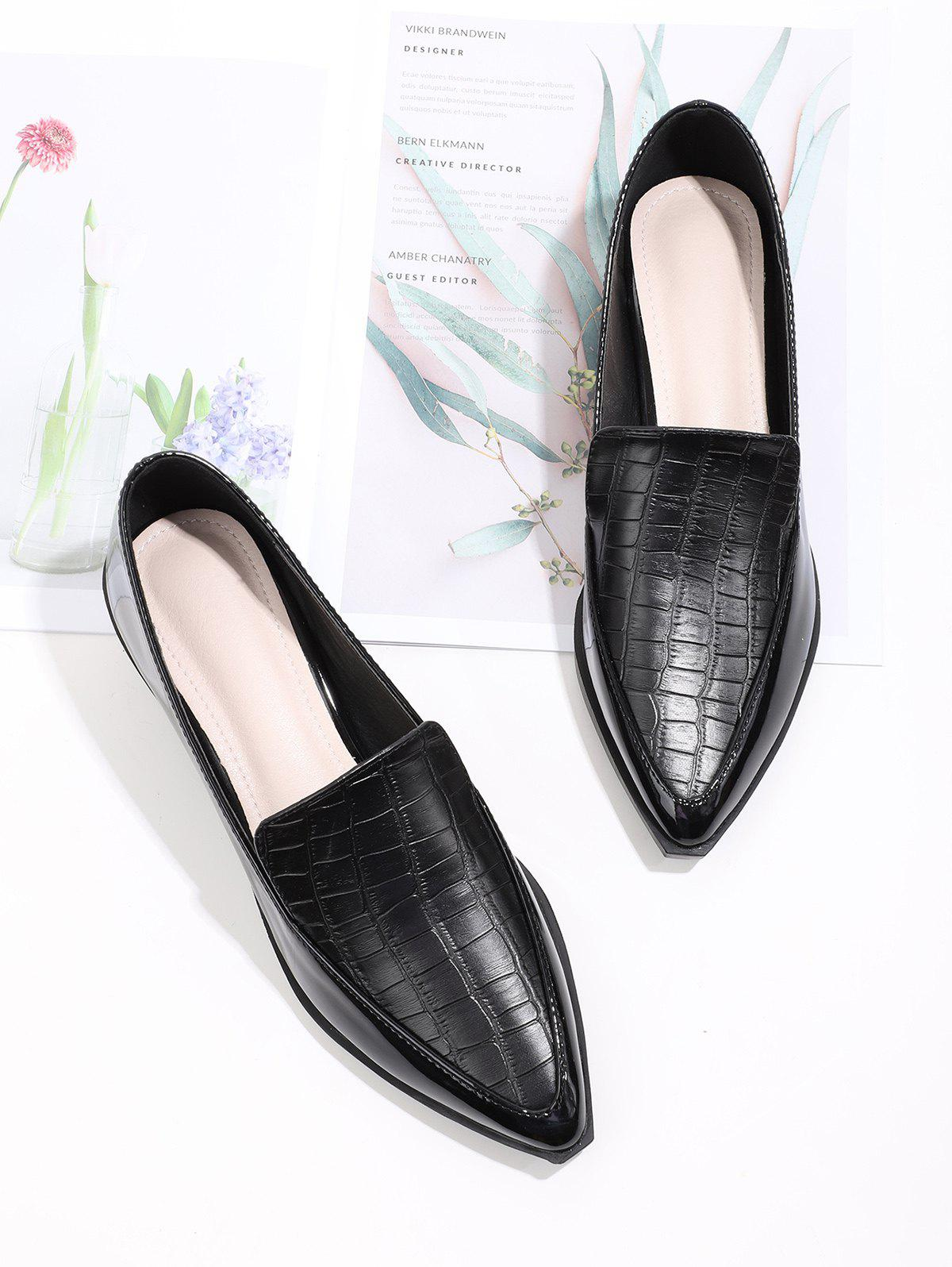 Pointed Toe Textured Slip On Shoes - BLACK EU 38