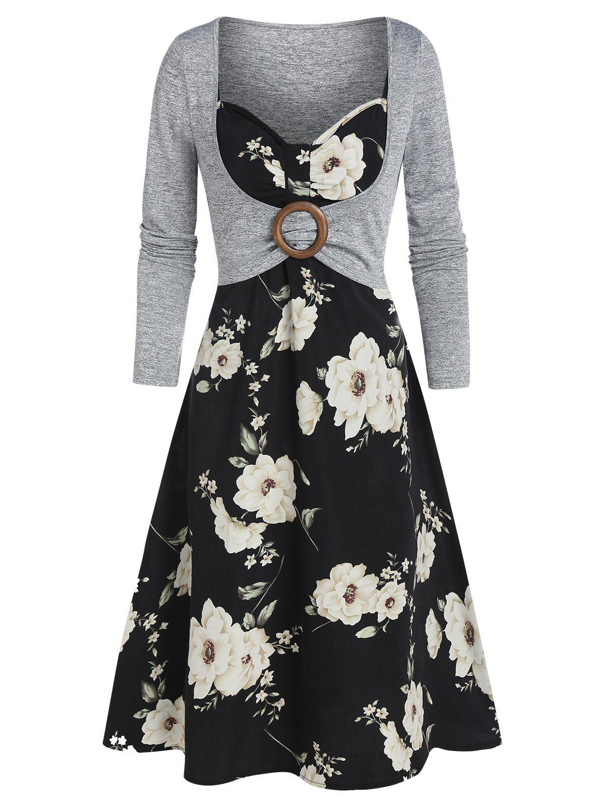 Floral Print O-ring Long Sleeve Two Piece Dress - multicolor B M