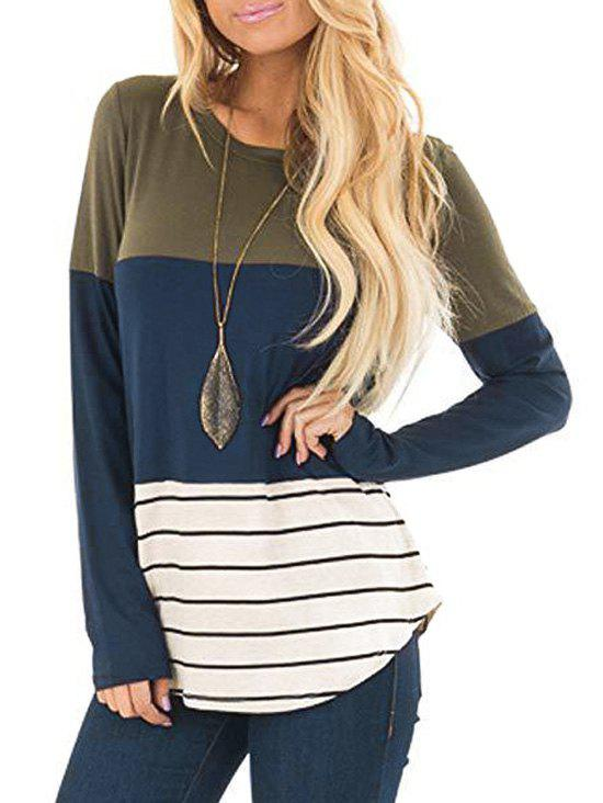 Lace Panel Colorblock Striped Long Sleeve Top - DEEP GREEN XXL