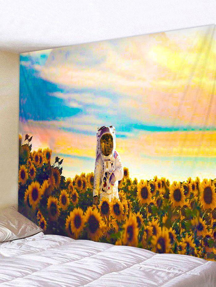 Sunflower Astronaut Printing Background Wall Tapestry - GOLDEN BROWN W91 X L71 INCH