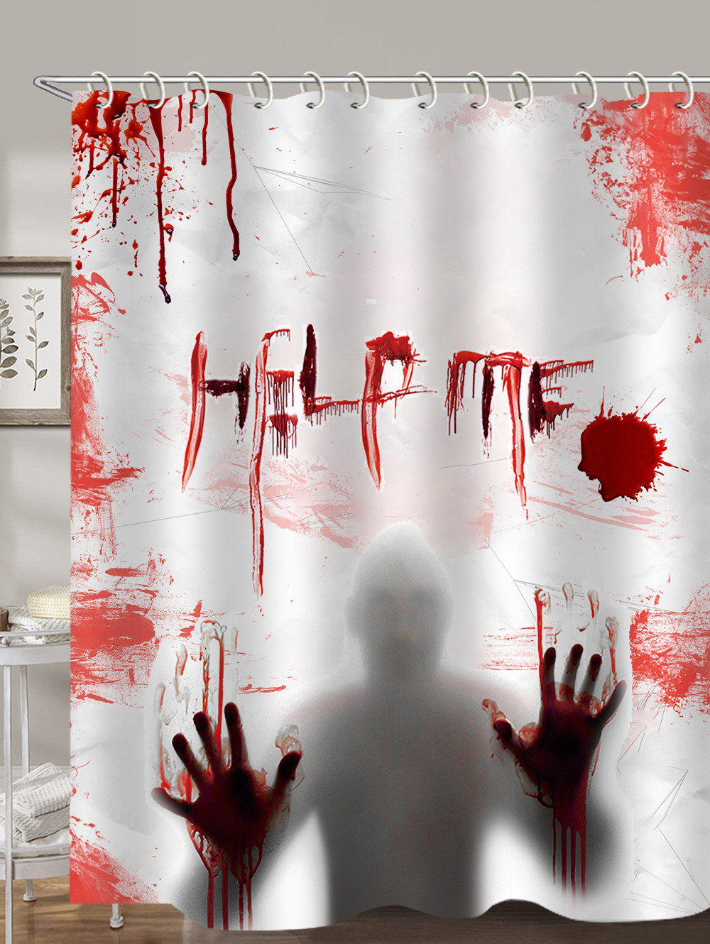 Halloween Blood Fingerprints Shadow Waterproof Shower Curtain - multicolor W71 X L71 INCH