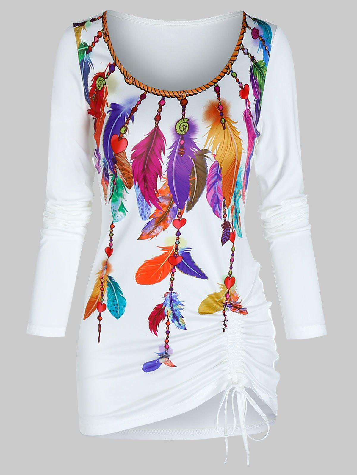 Colorful Feather Print Cinched Scoop Neck T Shirt - WHITE 3XL