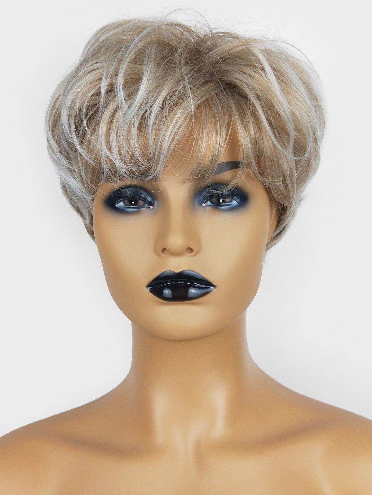 Short Pixie See-through Bang Slightly Wavy Fluffy Synthetic Wig - BEIGE