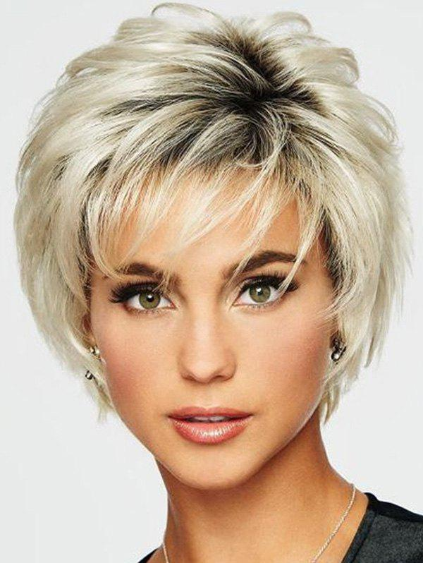 Short Slightly Wave Fluffy See-through Bang Ombre Synthetic Wig - CORNSILK