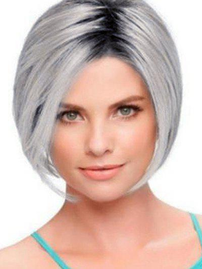 Gradient Color Short Straight Middle Part Bob Synthetic Wig - GRAY