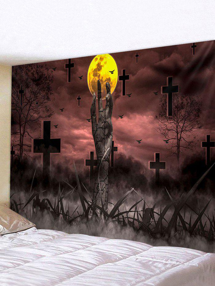 Halloween Terror Night Cemetery Pattern Wall Hanging Tapestry - multicolor W91 X L71 INCH