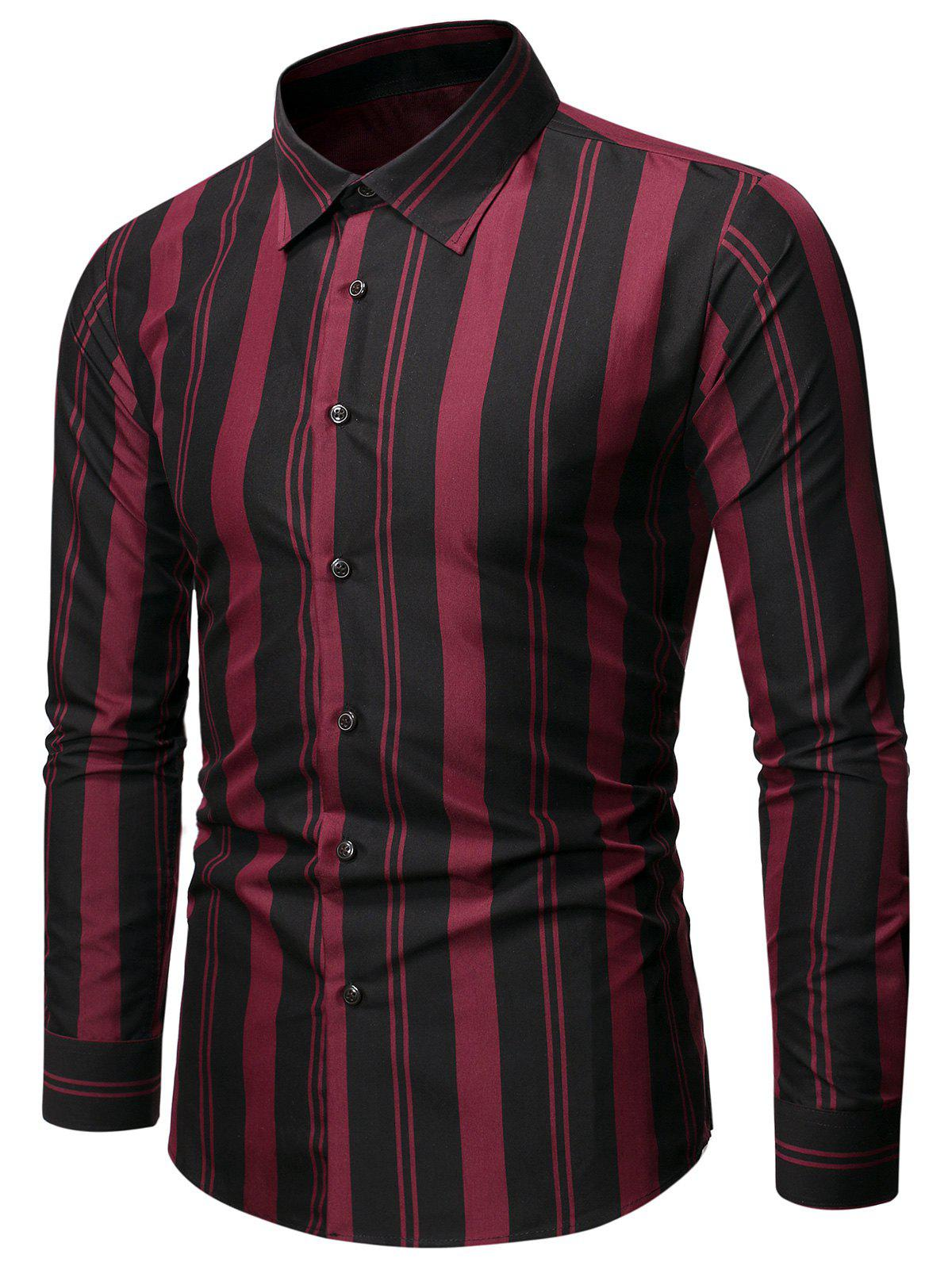 Balanced Striped Button Up Slim Shirt - BLACK M