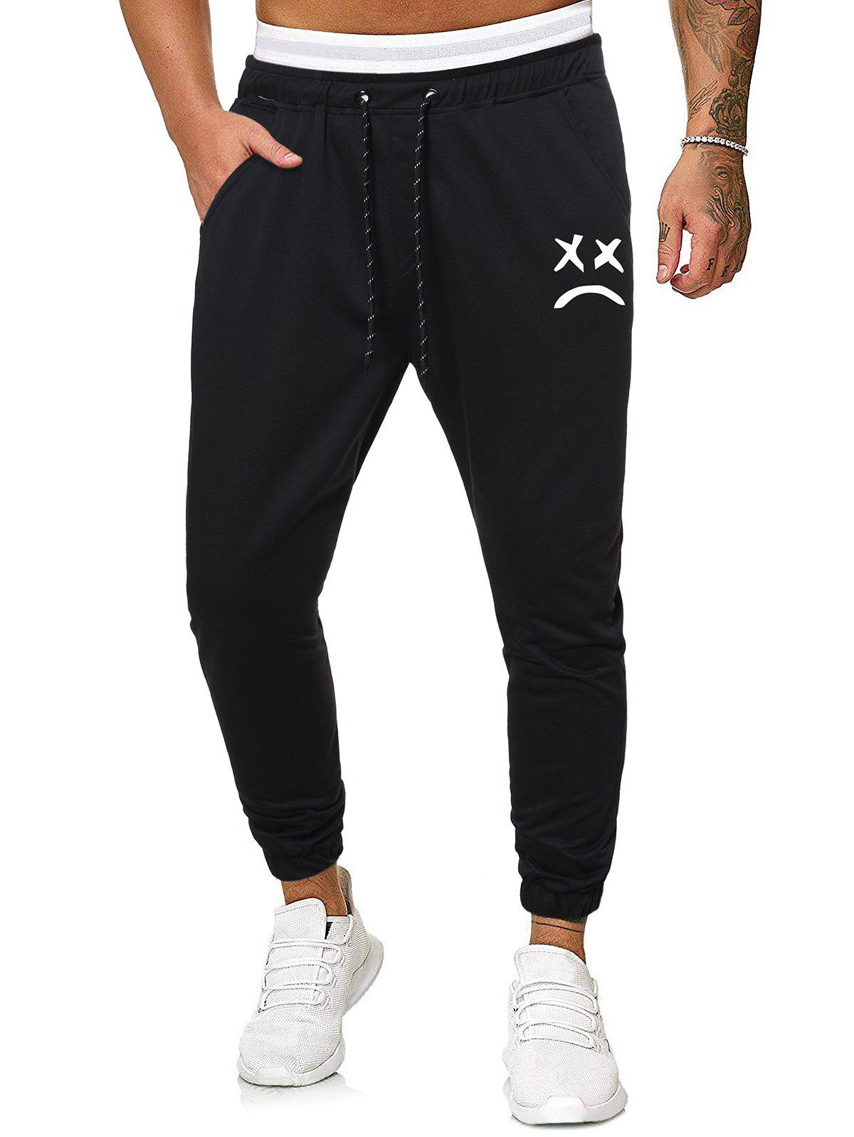 Funny Face Graphic Casual Drawstring Sweatpants - BLACK XL