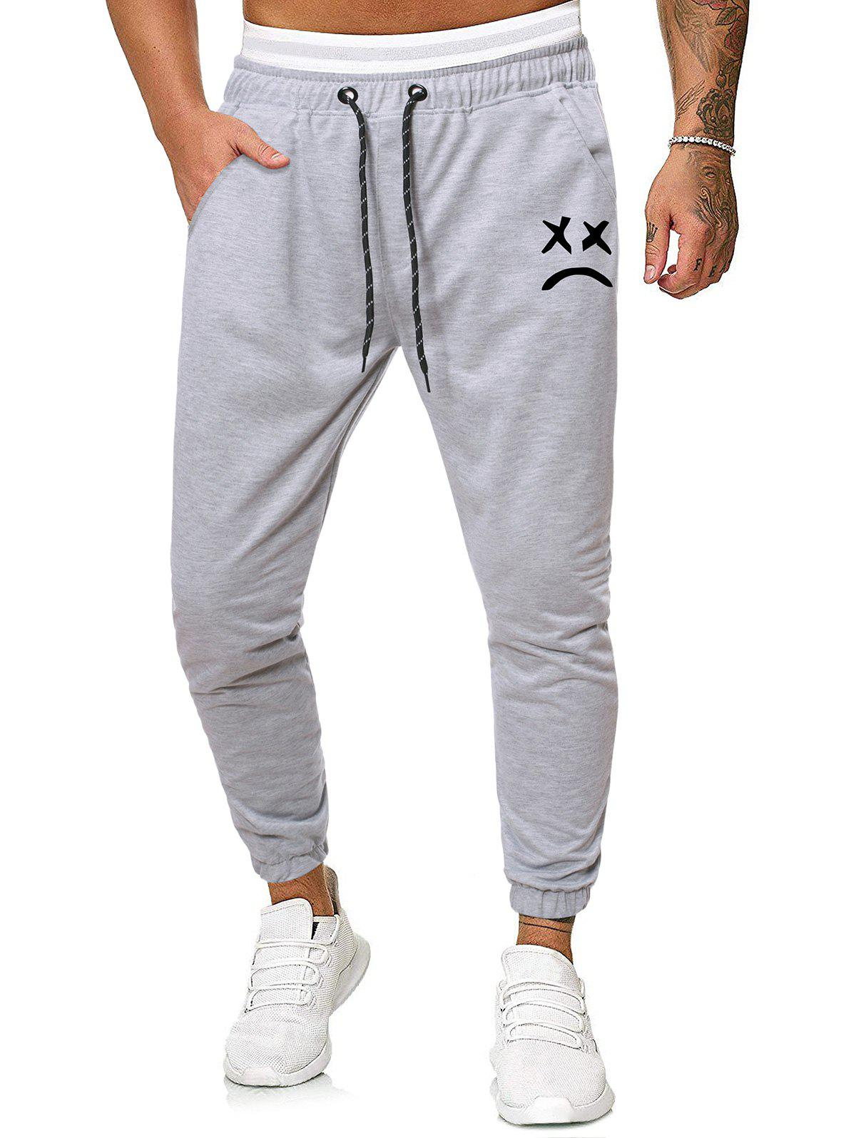 Funny Face Graphic Casual Drawstring Sweatpants - LIGHT GRAY XXL