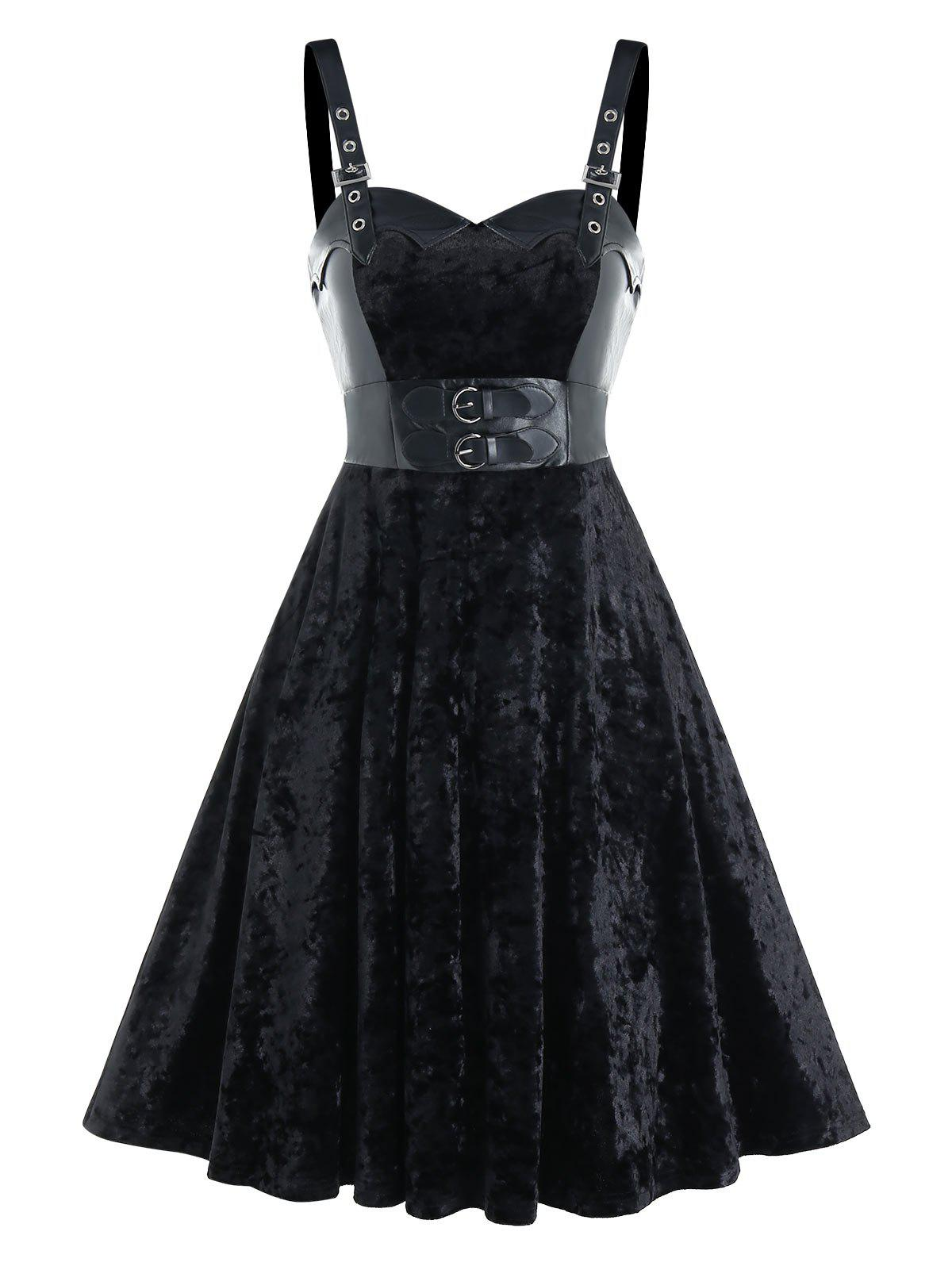 Buckle Strap Velvet Fabric Lace-up Sleeveless Dress - BLACK 2XL