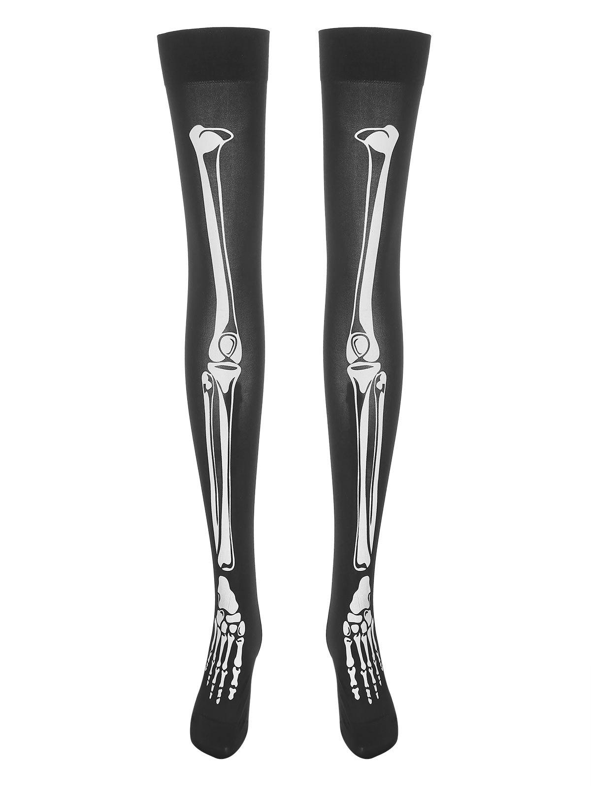 Plus Size Skeleton Print Halloween Thigh Highs - BLACK ONE SIZE