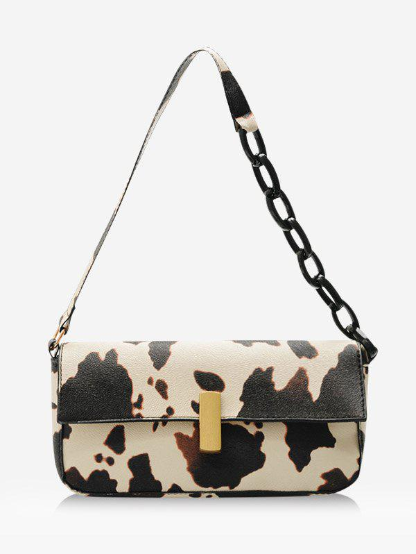 Cow Printed Rectangle Chain Small Shoulder Bag - LIGHT YELLOW