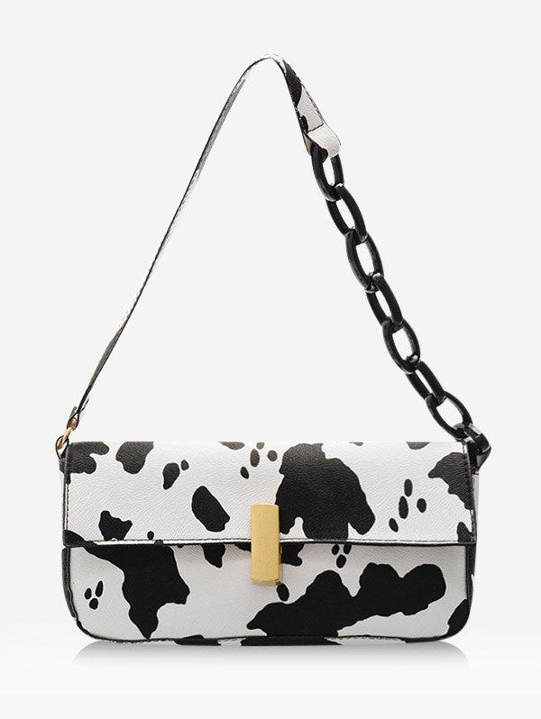 Cow Printed Rectangle Chain Small Shoulder Bag - WHITE
