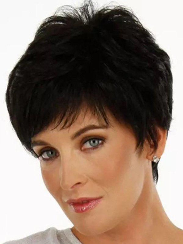 Short Inclined Bang Straight Pixie Cut Synthetic Wig - BLACK