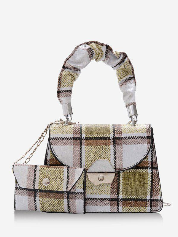 2Pcs Plaid Print Chain Mini Crossbody Bag Set - LIGHT GREEN